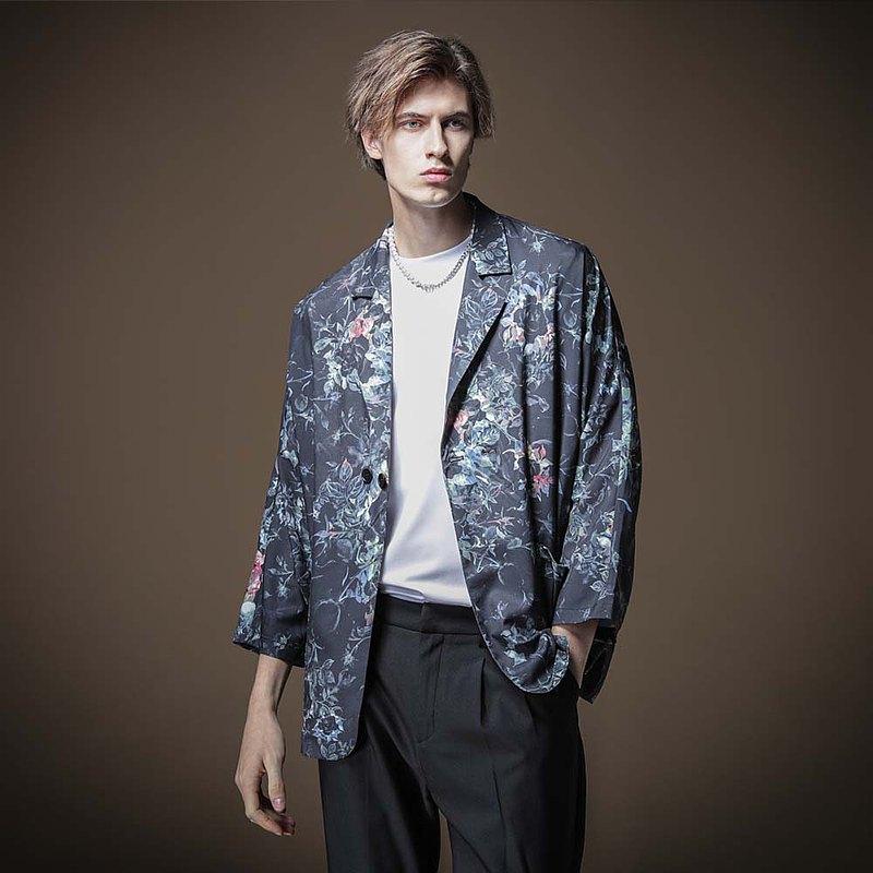 PINLI品立秋季新款男裝寬鬆印花七分袖小西裝外套