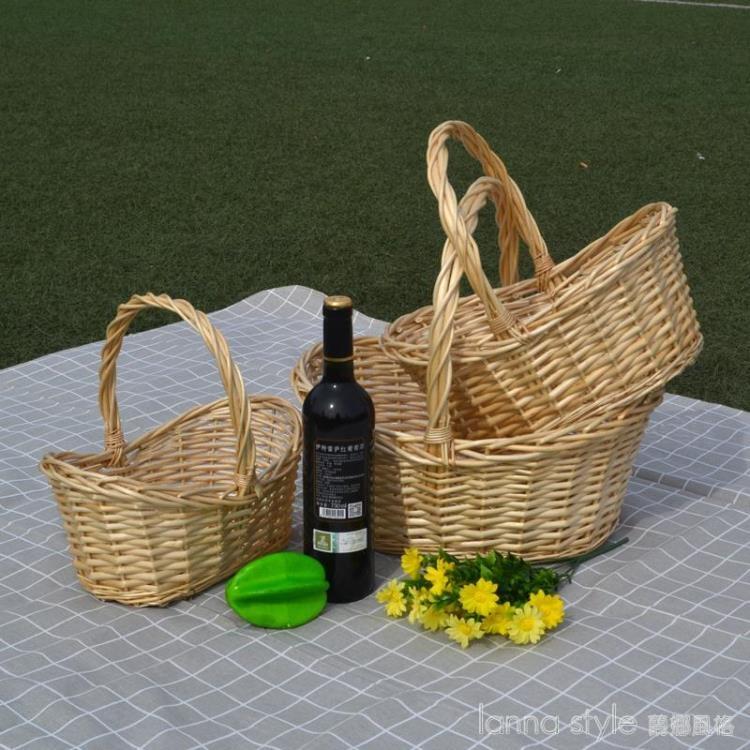 收納籃柳編藤編果籃裝水果送禮品籃菜籃手提籃采摘籃小提籃竹籃
