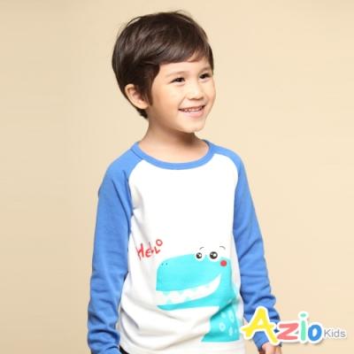 Azio Kids 男童 上衣 打招呼恐龍印花配色棒球長袖上衣T恤(藍)