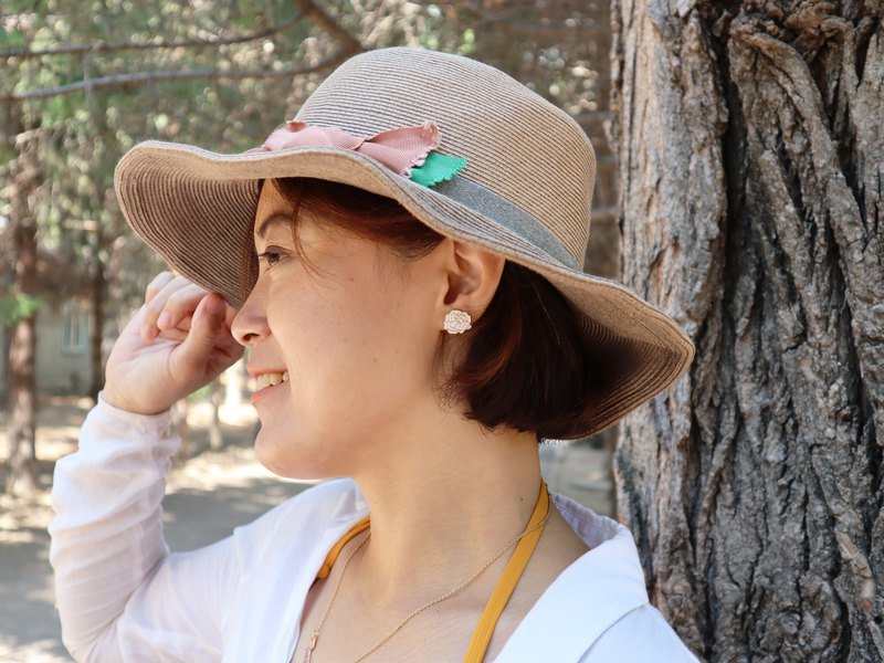 【女人節新品】玫瑰花  金色勾勒 耳環 耳夾 情人節禮物 送禮