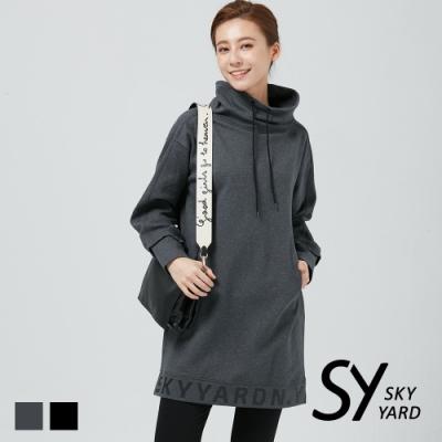 【SKY YARD 天空花園】厚磅立領綁帶棉質印花洋裝-灰色