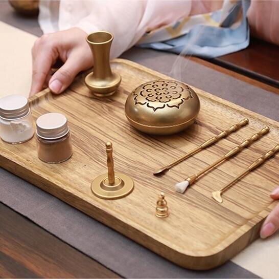 香道 青沉純銅套裝沉香爐檀香粉入門工具復古個性香勺灰壓香篆禮盒