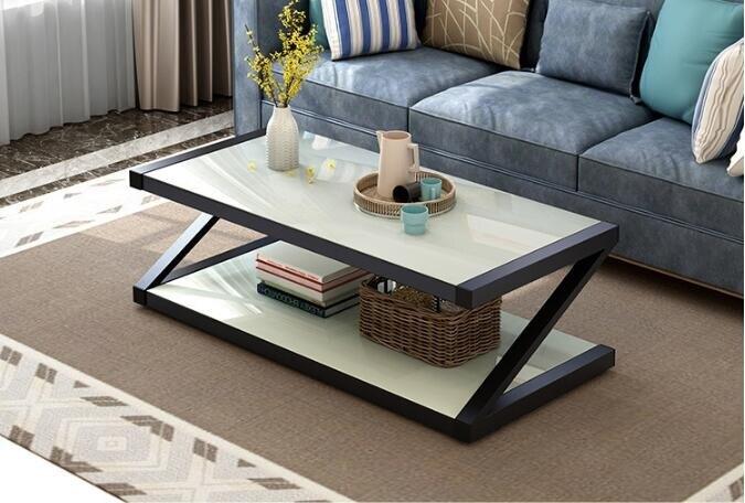 創意簡約鋼化玻璃茶幾客廳辦公室簡易方形收納桌子矮桌  mks  免運
