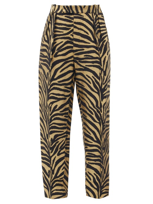 Khaite - Magdeline High-rise Zebra-print Twill Trousers - Womens - Black Gold