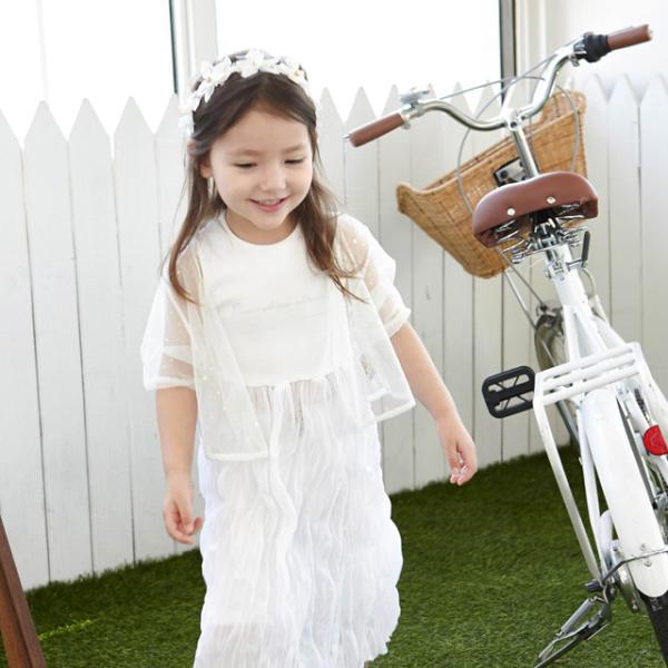 彩虹樹-阿米莉 摩登白色吊帶連衣裙 女孩連衣裙 兒童旅行裝 白色