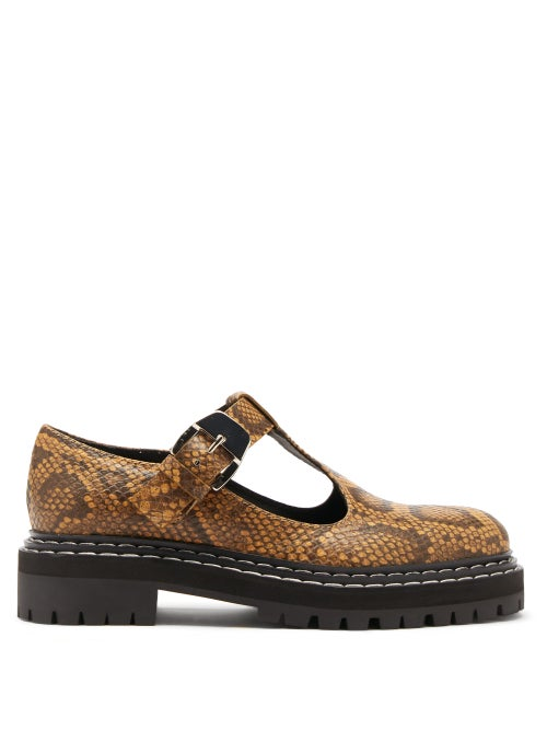 Proenza Schouler - Combat Tread-sole Python-print Leather Loafers - Womens - Beige Multi
