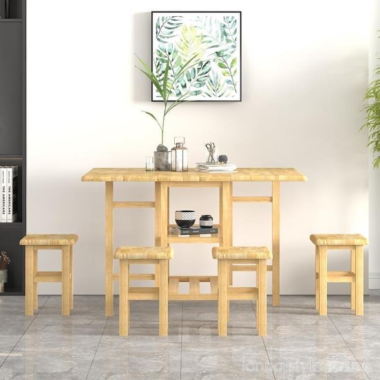 吃飯桌子家用小戶型折疊餐桌全實木可收納桌長方形帶凳子桌椅套裝