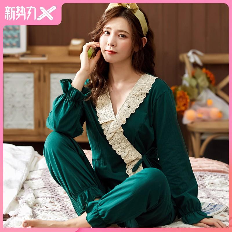 特價睡衣女秋季和服純棉長袖綠色休閑風兩件套裝長褲秋天家居服春秋款情侶睡衣