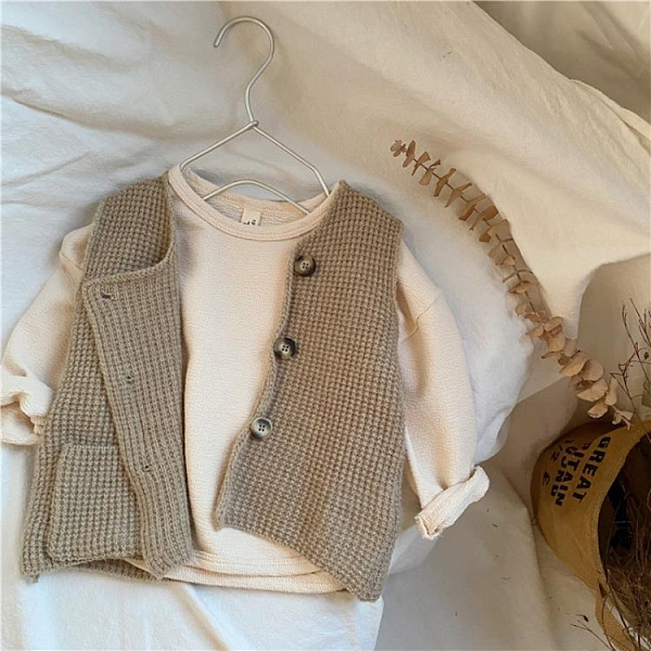 凹造型很好看秋韓國兒童復古針織馬甲男女童中性百搭毛衣 【快速出貨】