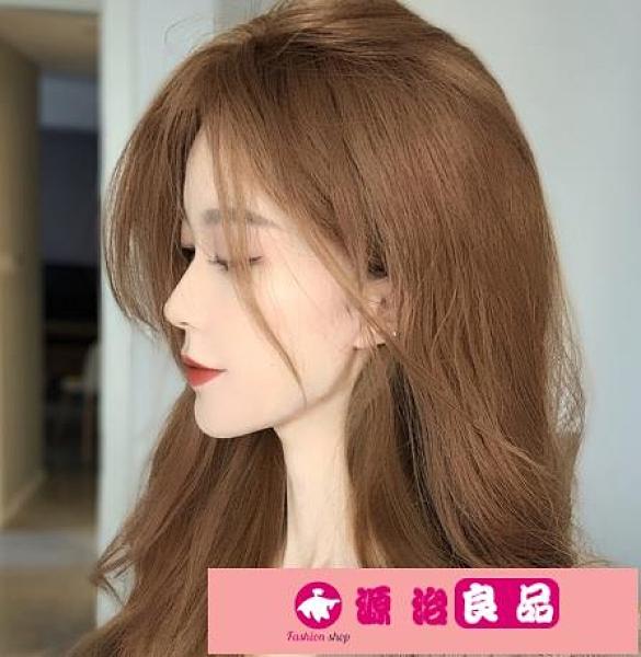染髮劑奶茶色染髮劑膏女2020流行色自己在家染髮純黑茶淺棕色植物泡泡沫 源治良品
