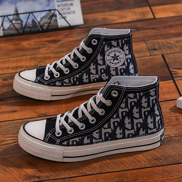 X-INGCHI 女款黑色字母花紋高筒帆布鞋-NO.X0254