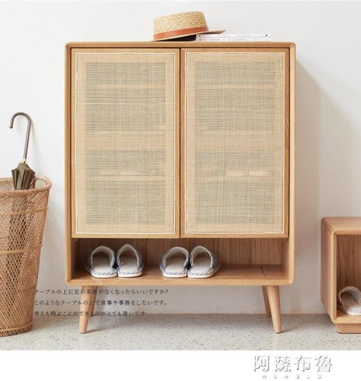 鞋櫃 簡約現代實木透氣鞋櫃北歐收納櫃藤編櫃子玄關櫃門廳隔斷儲物櫃 MKS