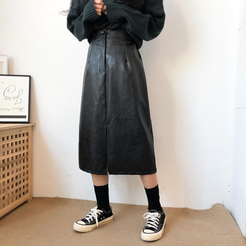韓國空運 - Center slit leather skirt 裙子