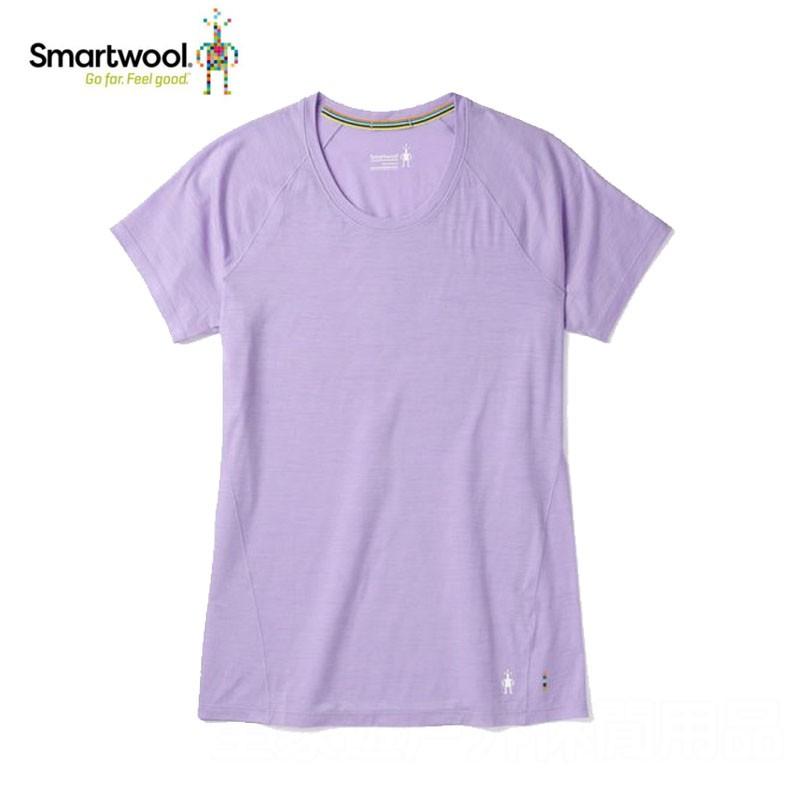 【SMART WOOL 美國】戶外運動女性短袖排汗衣 印花短袖內著衣/粉紫色運動上衣