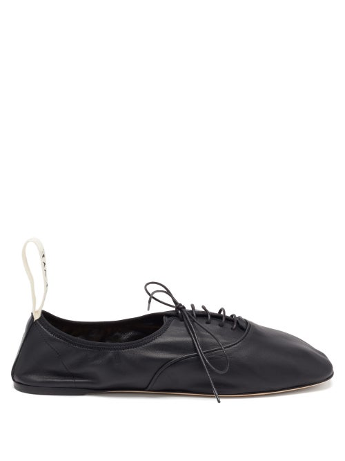 Loewe - Logo-tab Laced Ballet Flats - Womens - Black