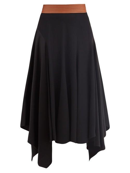 Loewe - Asymmetric Leather-waist Crepe Skirt - Womens - Black