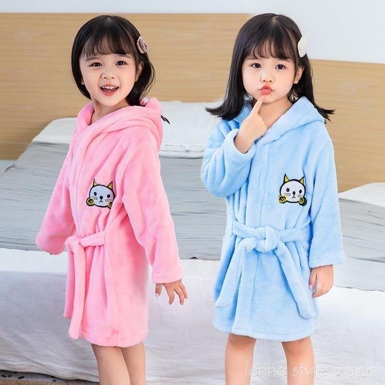 兒童睡袍法蘭絨小孩寶寶嬰兒男童加厚女童珊瑚絨睡衣秋冬四季浴袍