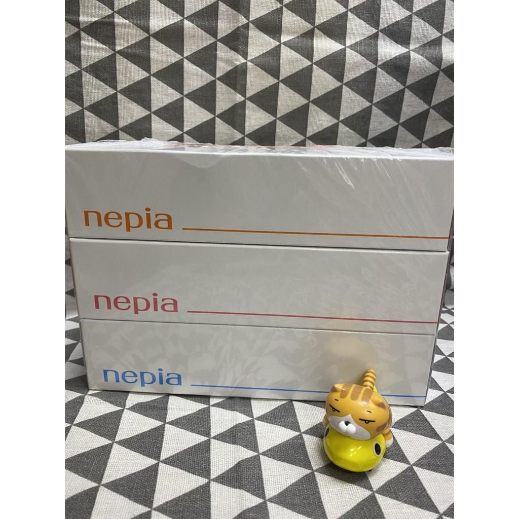 日本進口 王子nepia製 紙柔感盒裝抽取式面紙(三盒一組)-橘粉藍