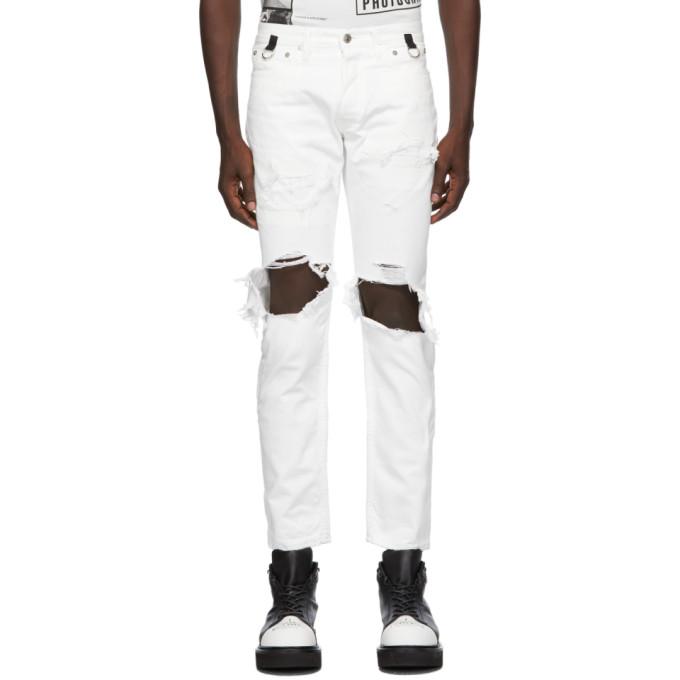 TAKAHIROMIYASHITA TheSoloist. 白色 Grunge 牛仔裤