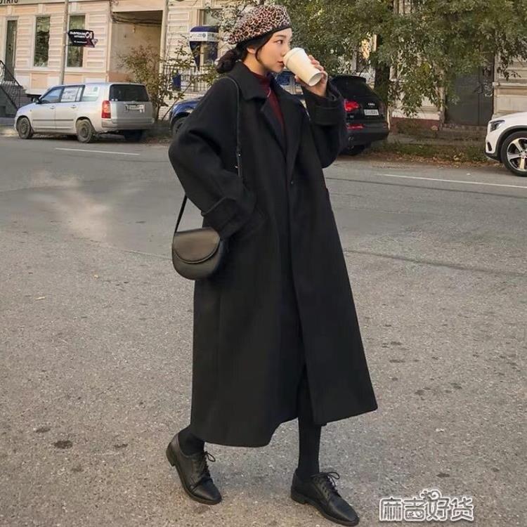 黑色毛呢外套女中長款秋冬季韓版赫本風呢子大衣百搭加厚SUPER 全館特惠9折