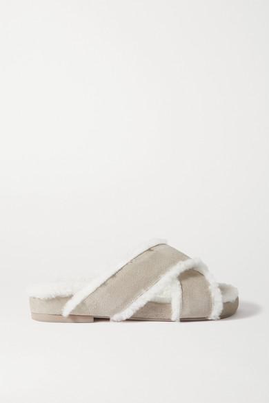 Porte & Paire - 羊毛皮衬里绒面革拖鞋 - 灰色 - IT41