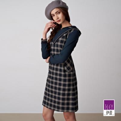 ILEY伊蕾 格紋假兩件連帽洋裝(藍)