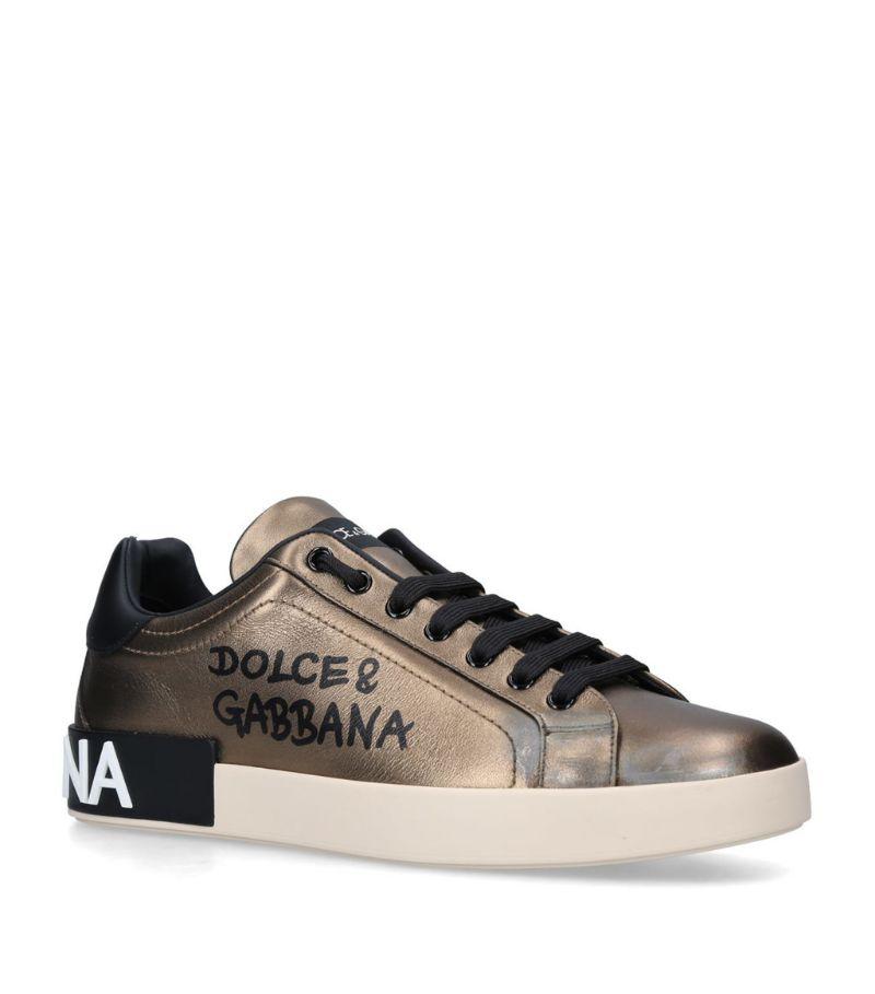 Dolce & Gabbana Metallic Logo Portofino Sneakers