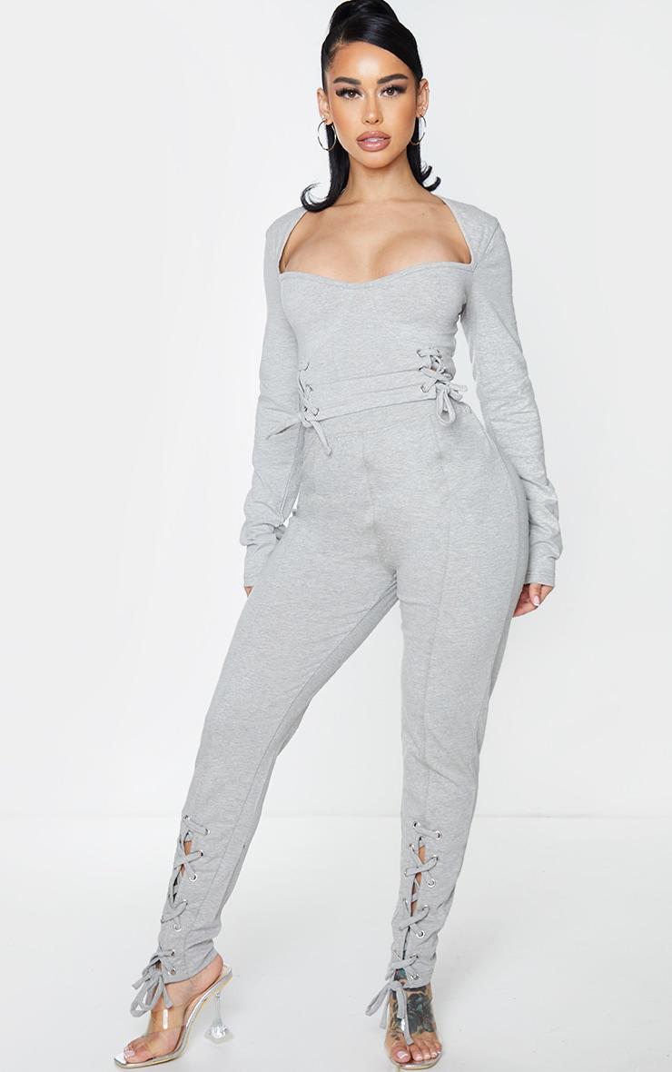 Shape Grey Lace Up Cotton Leggings