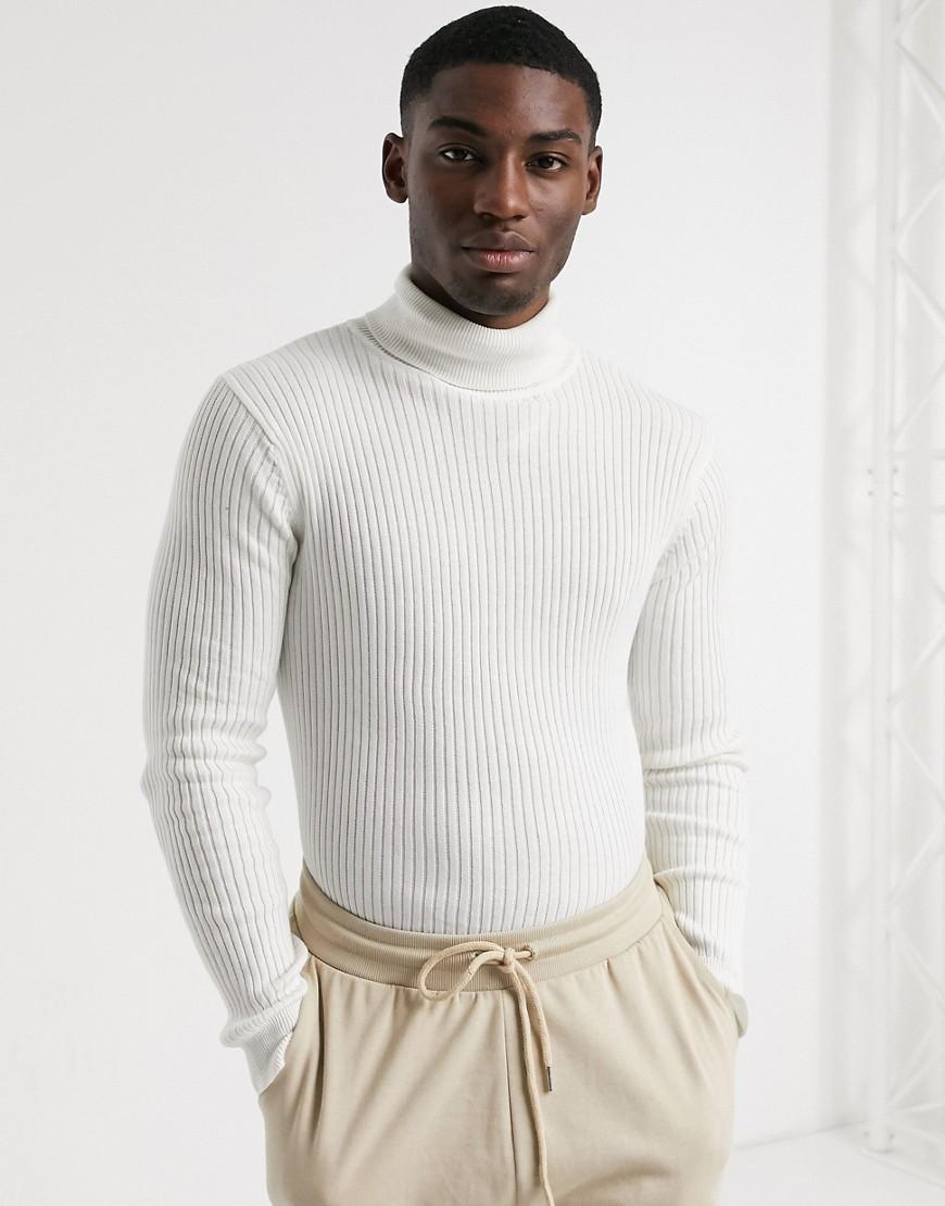 Brave Soul knitted roll neck jumper in vintage white