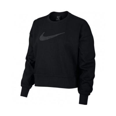 Nike 上衣 Fleece Training Top 女款 Dri-FIT 吸濕排汗 快乾 大勾 短版 黑 銀 CU9015010
