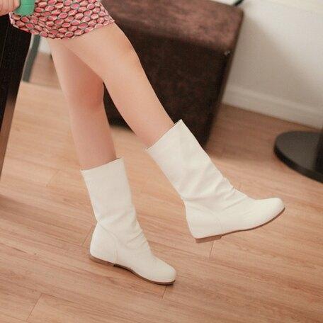 大碼中筒靴 春秋季女休閒白色中筒騎士靴內增高中跟皮單靴子倒倒靴甜美馬丁靴