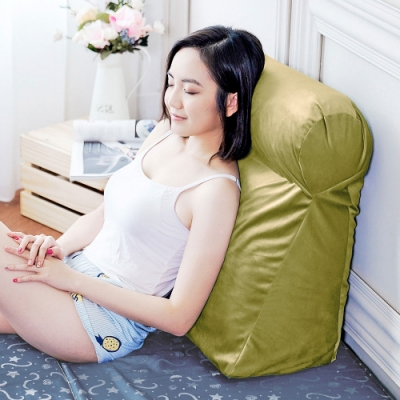 凱蕾絲帝 台灣製造-多功能含枕護膝抬腿枕/加高三角靠墊-芥綠