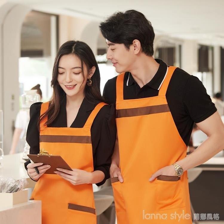 圍裙訂製 工作服logo印字飯店餐飲家用廚房圍腰女時尚訂做便利店