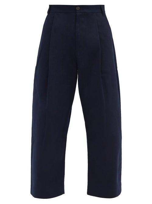 Studio Nicholson - Pleated Cotton-twill Wide-leg Trousers - Mens - Navy