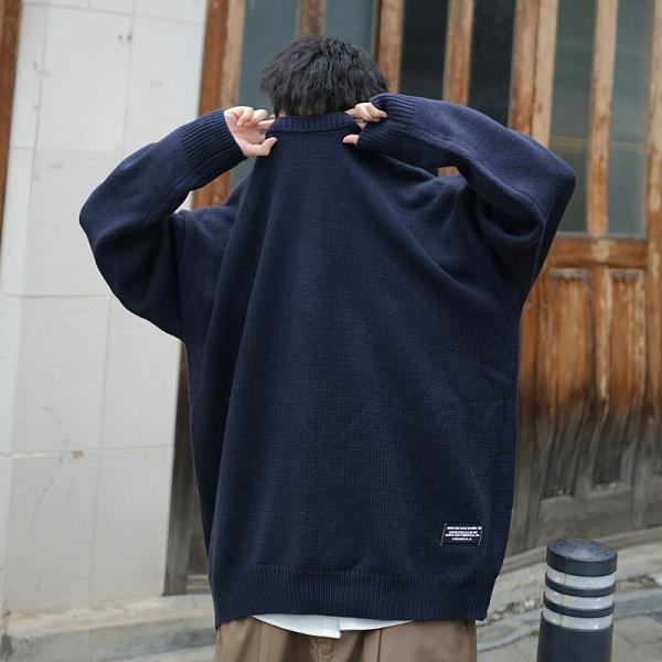 寬鬆日系上衣秋冬保暖打底衫 簡約潮流男生針織衫 男生毛衣潮牌長袖加厚 純色韓版男士毛衣上衣
