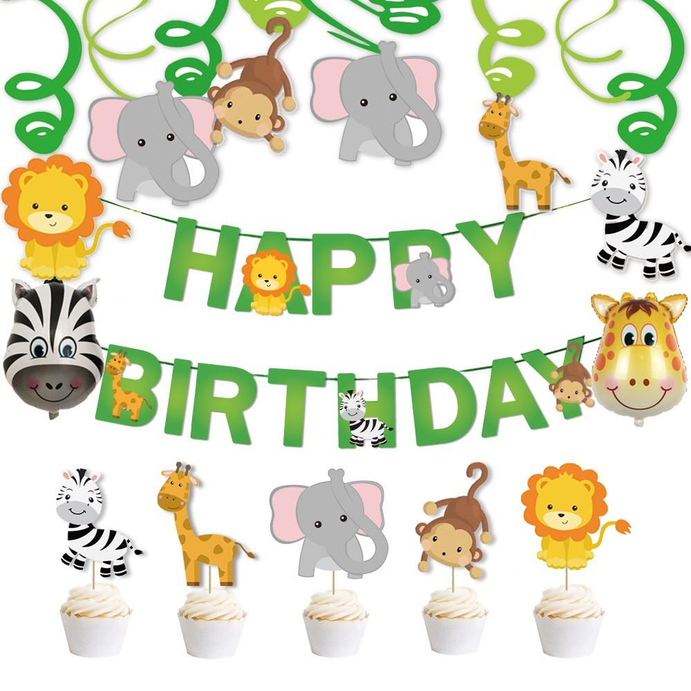 森林動物生日快樂拉條+蛋糕插牌布置用品 週歲 生日快樂 嬰兒 小童 場景布置 拉條【p0061219109219】