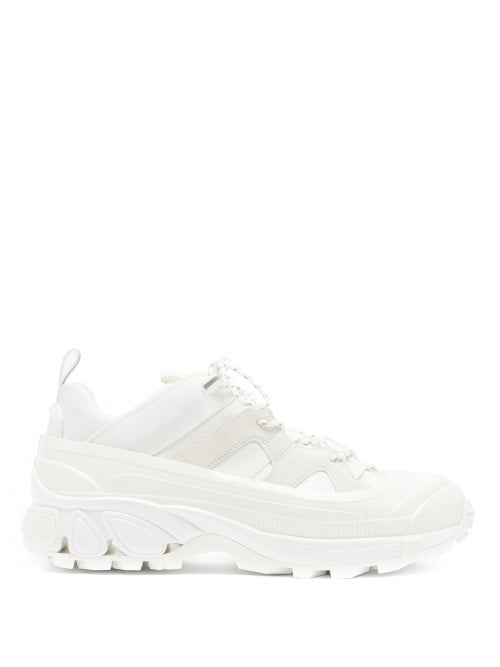 Burberry - Arthur Overshoe Ripstop And Suede Trainers - Mens - White