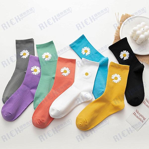 雛菊笑臉花堆堆襪夏季薄款韓國天鵝絨中長筒襪子女ins潮
