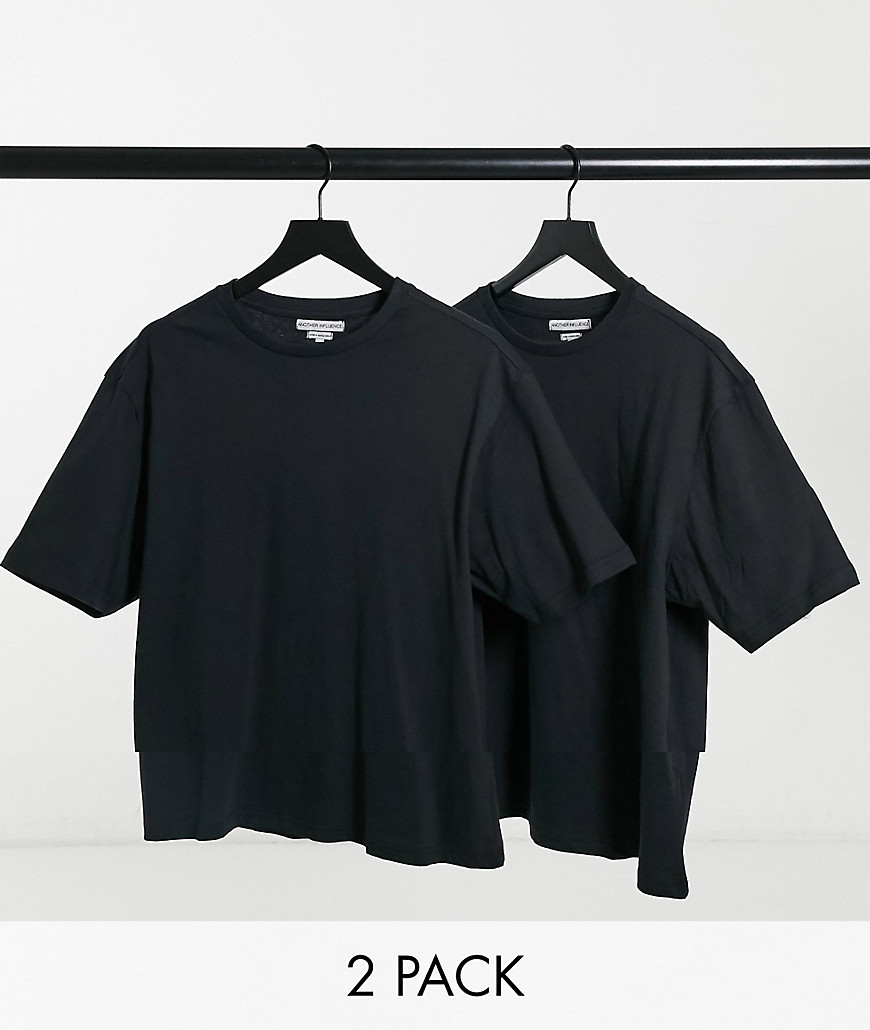 Another Influence Tall 2 pack boxy oversized t-shirts in black