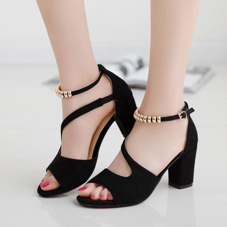 高跟鞋-涼鞋女2020夏季新款一字扣中跟粗跟韓版高跟鞋性感魚嘴鞋後包跟鞋 愛尚優品 雙十一購物節