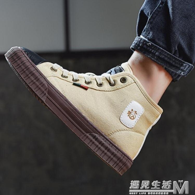 高筒帆布鞋男鞋春夏季新款復古鞋子男潮鞋百搭透氣高邦布鞋