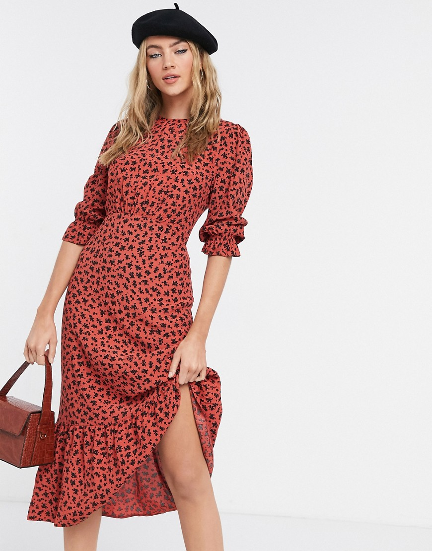 Nobody's Child high neck maxi tea dress in botanical floral-Red