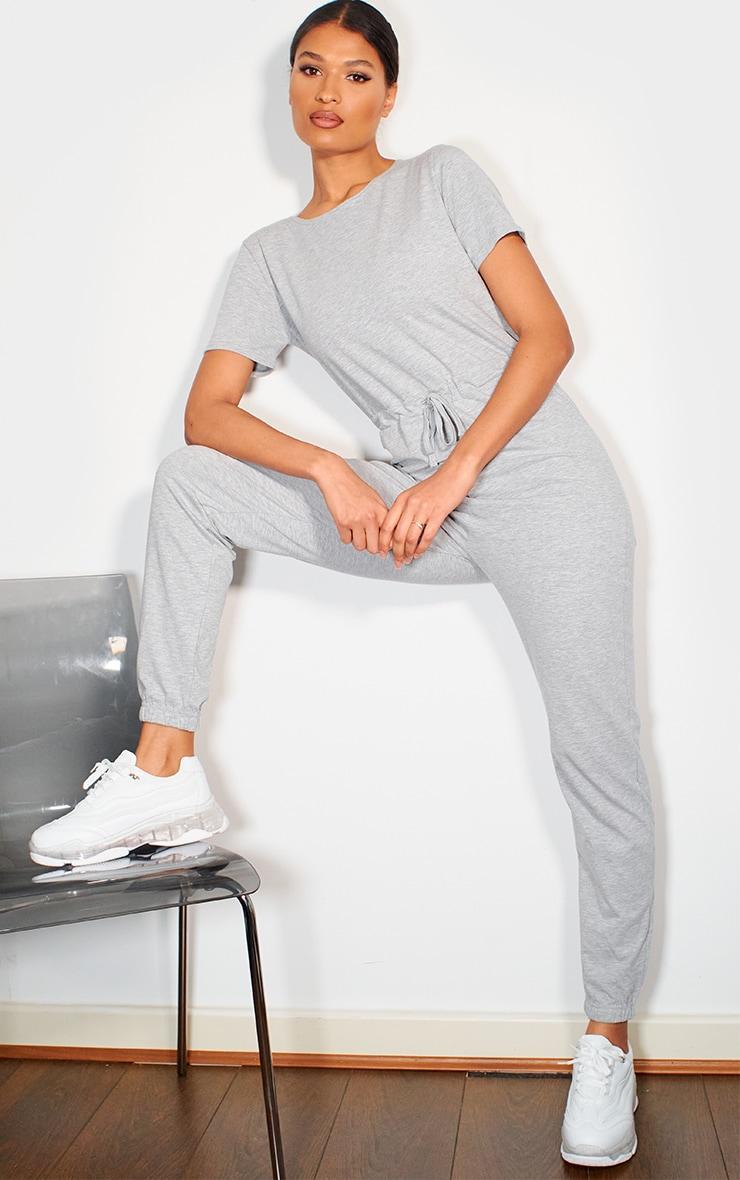Grey Marl Cotton Elastane Short Sleeve Jumpsuit