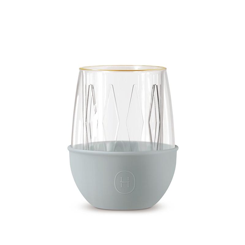 【美國HYDY】雙層玻璃蛋型杯_積雲 鑽石菱格紋/240ml