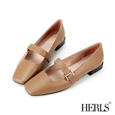 HERLS低跟鞋-全真皮方釦小方頭瑪莉珍低跟鞋-可可色