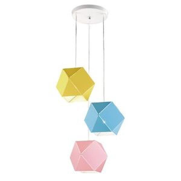 【YPHOME】特價馬卡龍幾何圓盤三吊燈 簡易更換燈泡