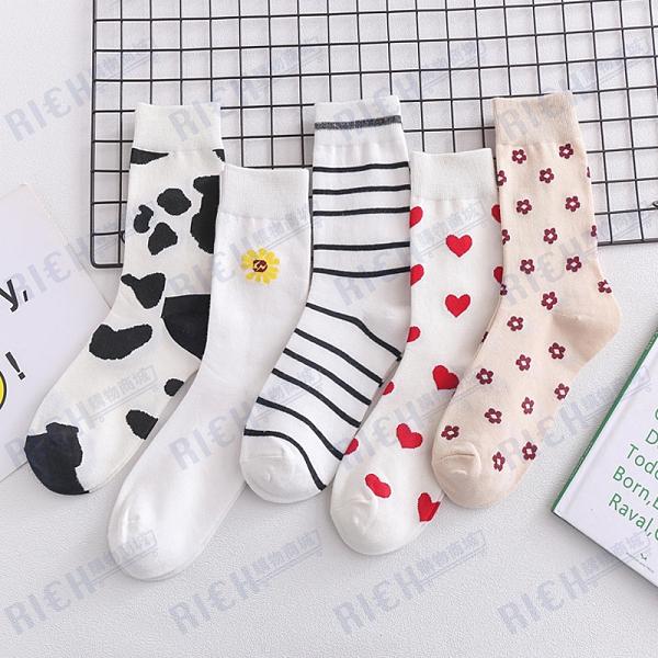 白色中長筒襪女ins潮可愛韓國日系奶牛學生愛心女生襪子