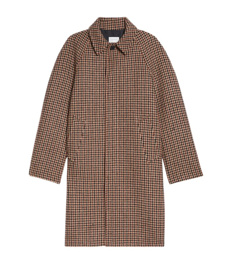 Sandro Paris Check Longline Overcoat