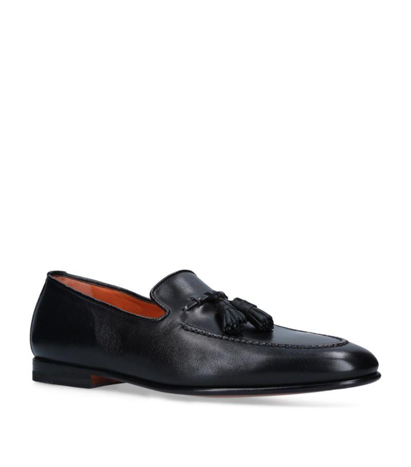 Santoni Leather Carlos Tassel Loafers