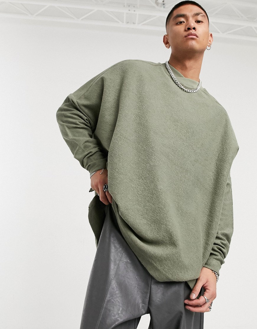 ASOS DESIGN oversized turtle neck sweatshirt with raw hem in khaki-Green